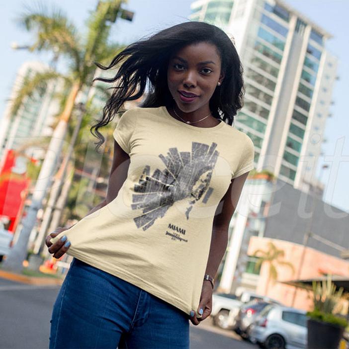 Map of Miami City T-Shirt for women by ShirtUrbanization